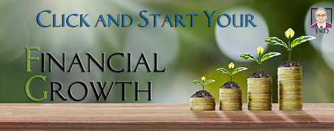 Financial business background. Planting trees on coins and woode